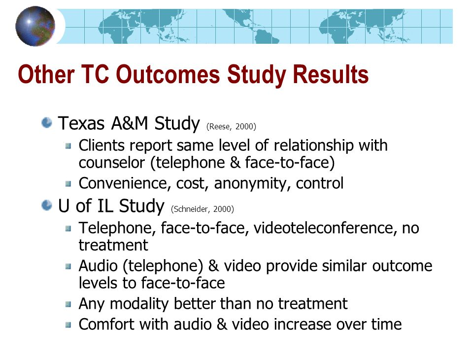Other TC Outcomes Study Results Texas A&M Study (Reese, 2000) Clients report same level of relationship with counselor (telephone & face-to-face) Convenience, cost, anonymity, control U of IL Study (Schneider, 2000) Telephone, face-to-face, videoteleconference, no treatment Audio (telephone) & video provide similar outcome levels to face-to-face Any modality better than no treatment Comfort with audio & video increase over time