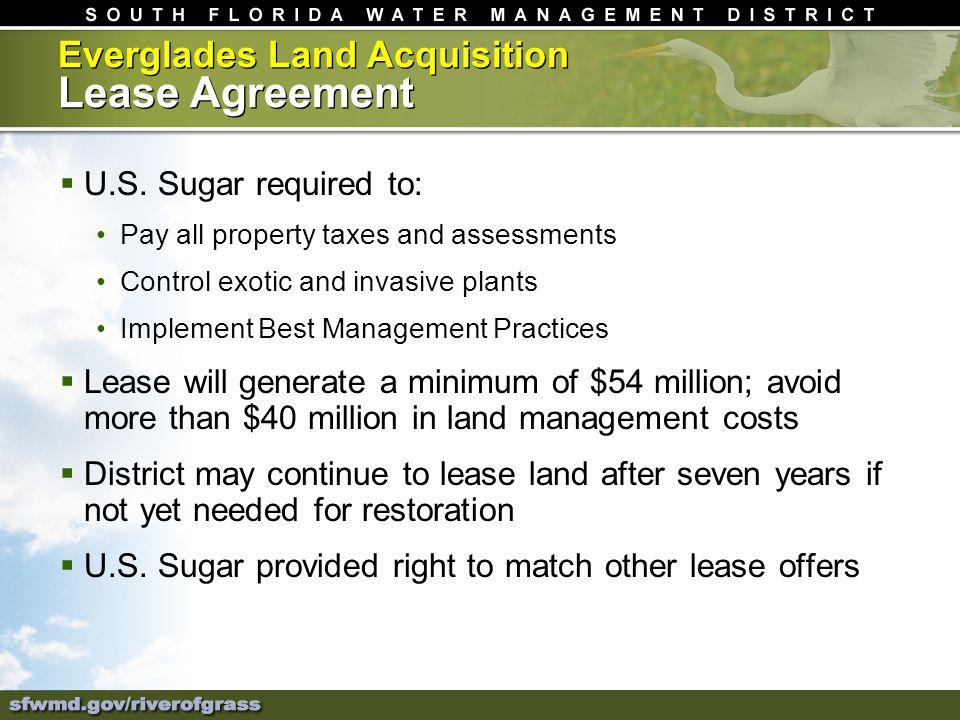 Everglades Land Acquisition Lease Agreement U.S.