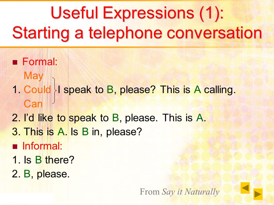 Useful Expressions (2): Making others on hold Formal: 1.