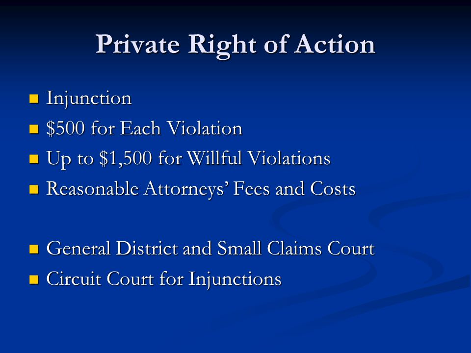 Private Right of Action Injunction Injunction $500 for Each Violation $500 for Each Violation Up to $1,500 for Willful Violations Up to $1,500 for Wil