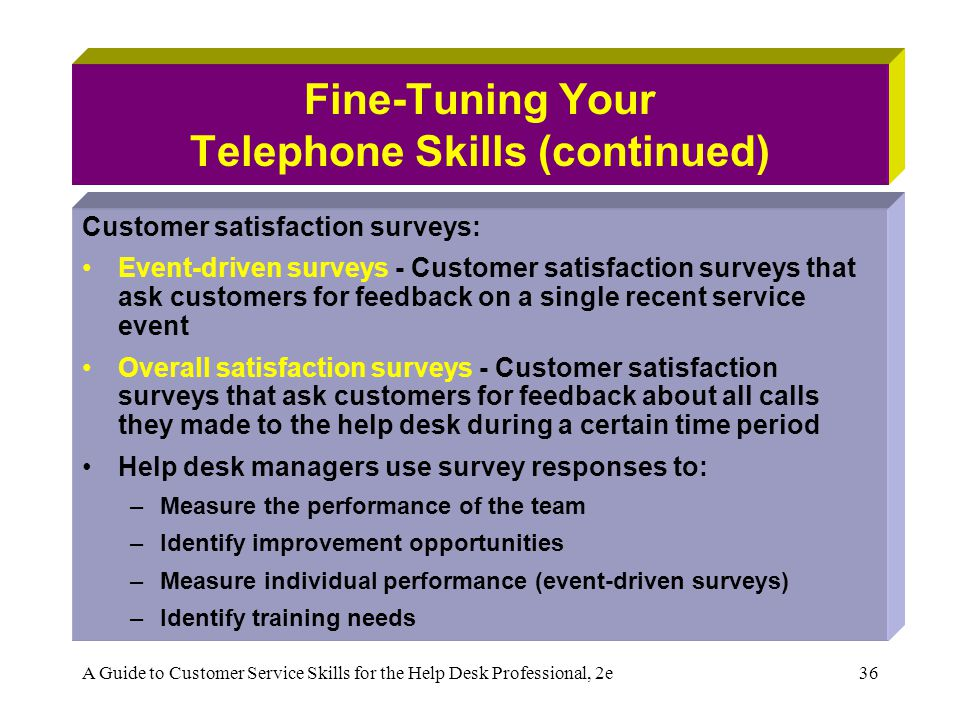 A Guide to Customer Service Skills for the Help Desk Professional, 2e36 Fine-Tuning Your Telephone Skills (continued) Customer satisfaction surveys: Event-driven surveys - Customer satisfaction surveys that ask customers for feedback on a single recent service event Overall satisfaction surveys - Customer satisfaction surveys that ask customers for feedback about all calls they made to the help desk during a certain time period Help desk managers use survey responses to: –Measure the performance of the team –Identify improvement opportunities –Measure individual performance (event-driven surveys) –Identify training needs