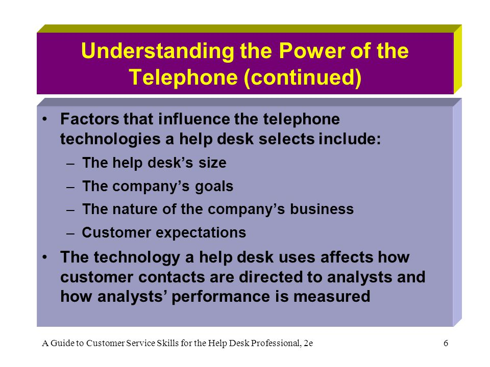 A Guide to Customer Service Skills for the Help Desk Professional, 2e6 Understanding the Power of the Telephone (continued) Factors that influence the telephone technologies a help desk selects include: –The help desks size –The companys goals –The nature of the companys business –Customer expectations The technology a help desk uses affects how customer contacts are directed to analysts and how analysts performance is measured