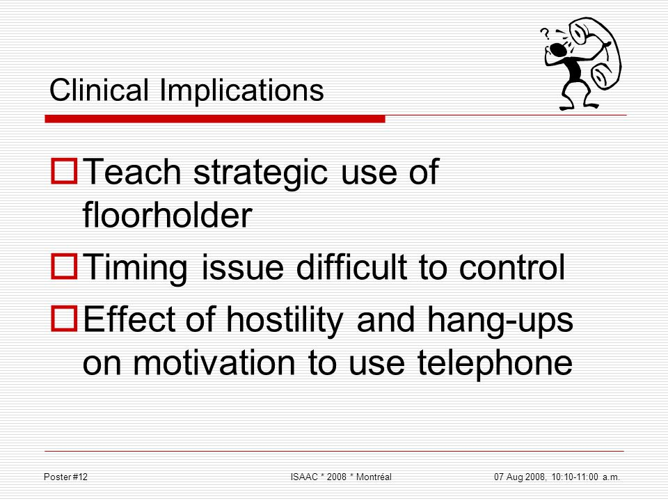 Clinical Implications Teach strategic use of floorholder Timing issue difficult to control Effect of hostility and hang-ups on motivation to use telep