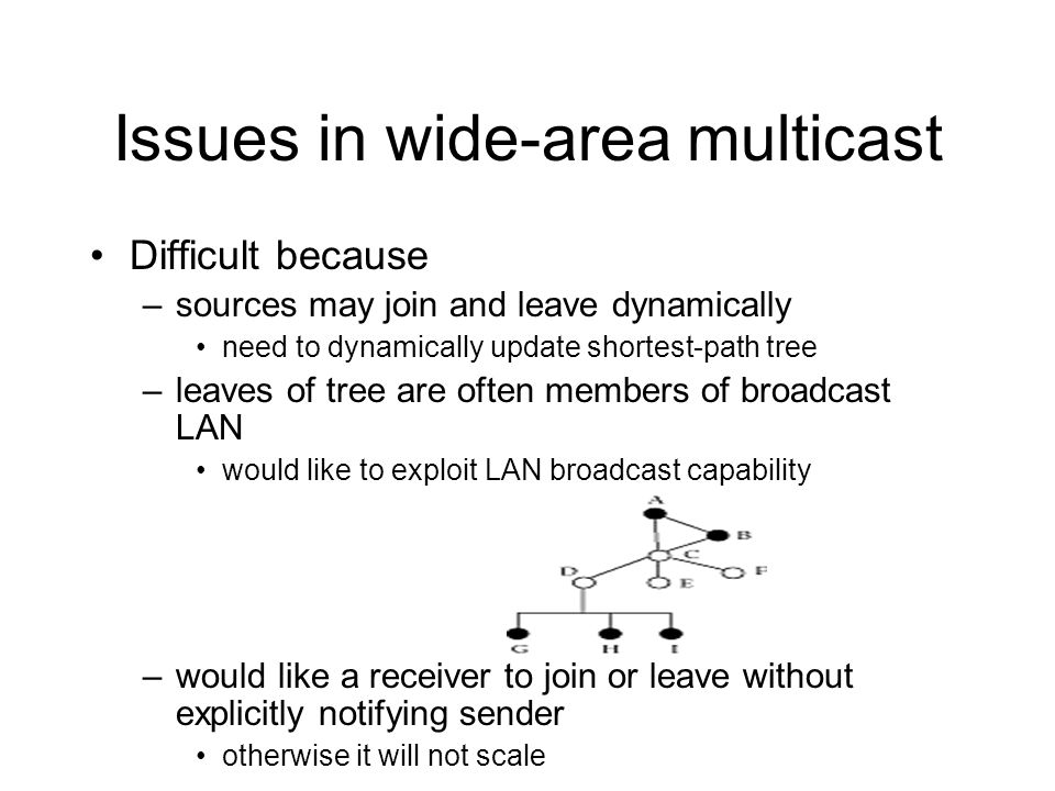 Issues in wide-area multicast Difficult because –sources may join and leave dynamically need to dynamically update shortest-path tree –leaves of tree