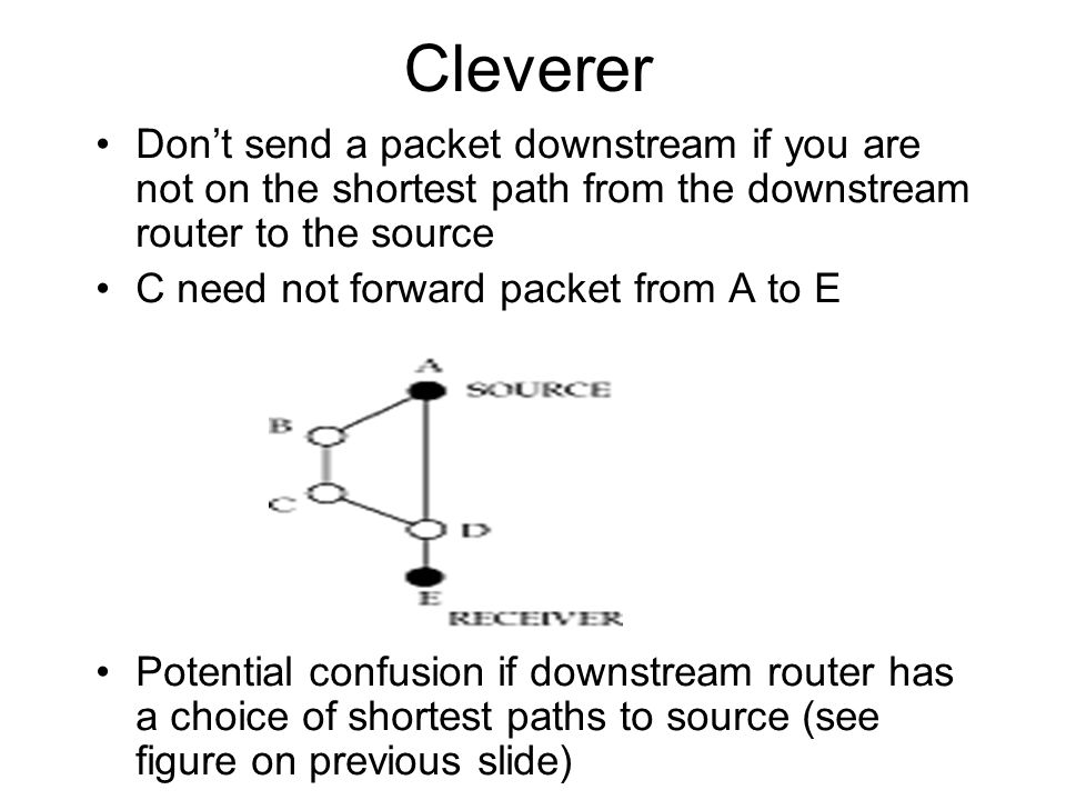 Cleverer Dont send a packet downstream if you are not on the shortest path from the downstream router to the source C need not forward packet from A t