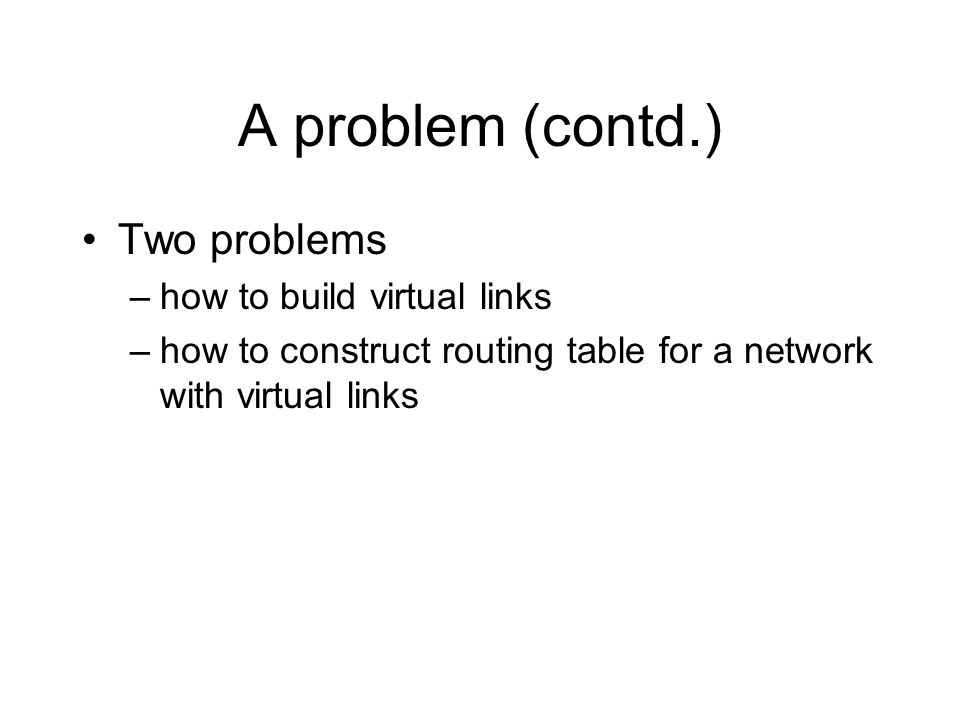 A problem (contd.) Two problems –how to build virtual links –how to construct routing table for a network with virtual links