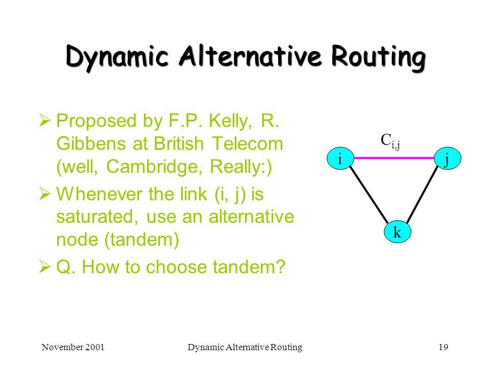 November 2001Dynamic Alternative Routing19 Dynamic Alternative Routing Proposed by F.P. Kelly, R. Gibbens at British Telecom (well, Cambridge, Really: