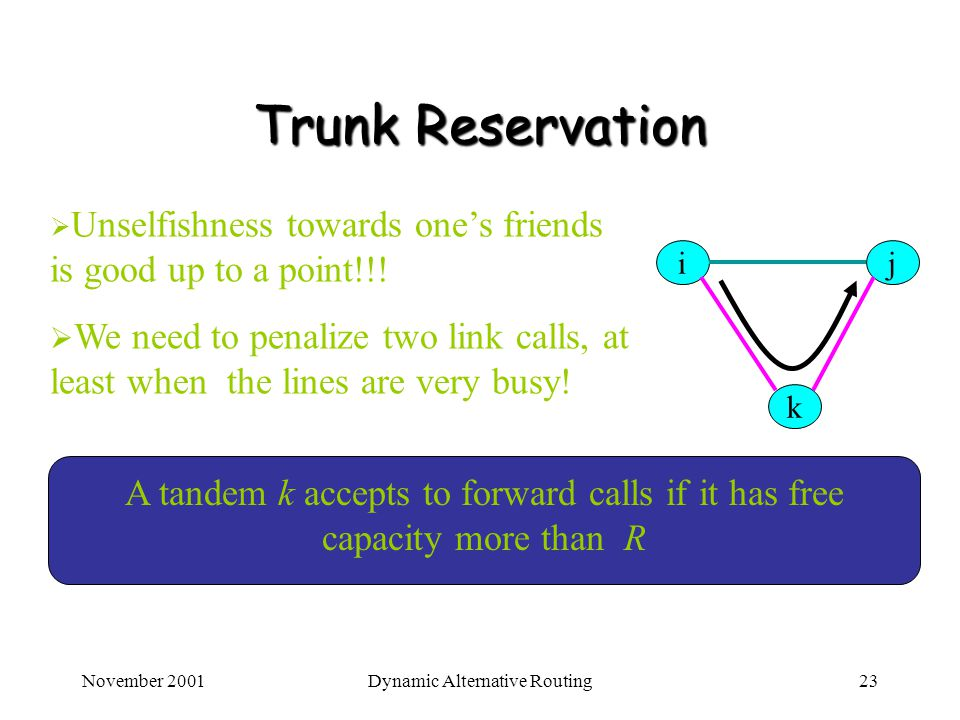 November 2001Dynamic Alternative Routing23 Trunk Reservation Unselfishness towards ones friends is good up to a point!!! We need to penalize two link