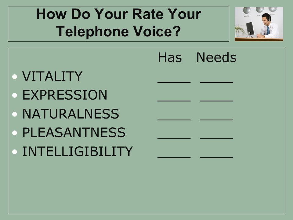How Do Your Rate Your Telephone Voice.