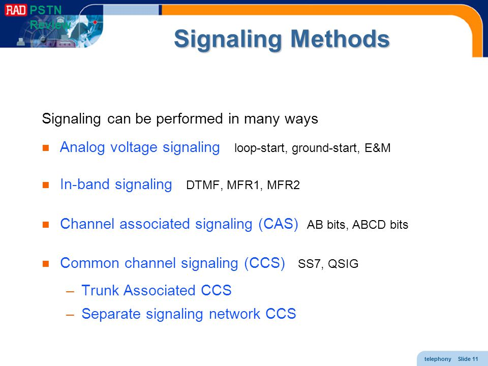 telephony Slide 11 Signaling Methods Signaling can be performed in many ways Analog voltage signaling loop-start, ground-start, E&M In-band signaling