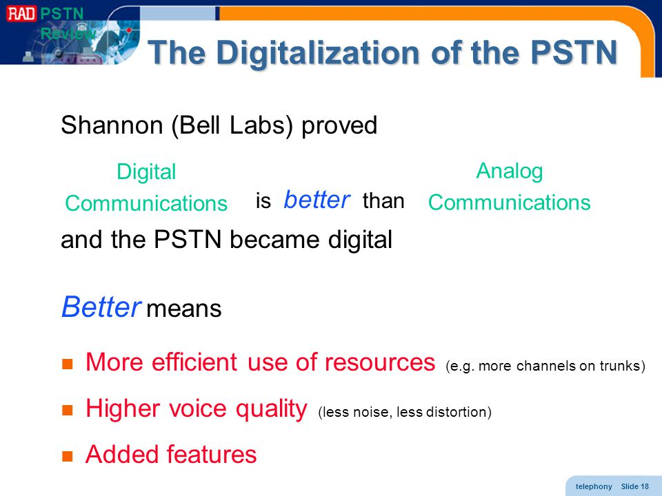 telephony Slide 18 The Digitalization of the PSTN Shannon (Bell Labs) proved is better than and the PSTN became digital Better means More efficient us