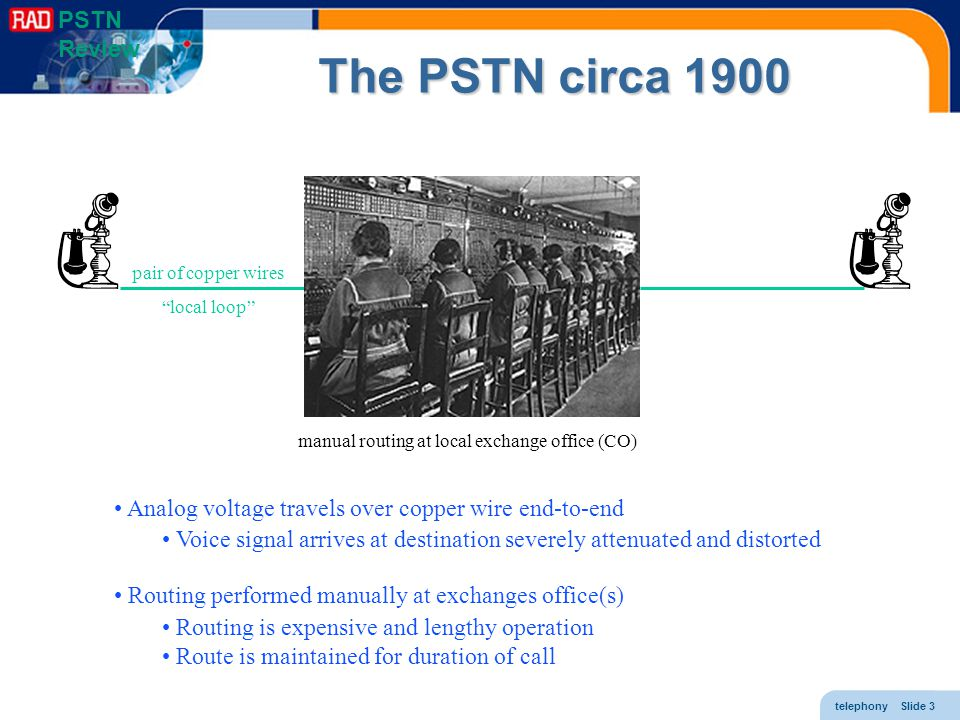 telephony Slide 4 Multiplexing 1900: 25% of telephony revenues went to copper mines standard was 18 gauge, long distance even heavier two wires per loop to combat cross-talk needed method to place multiple conversations on a single trunk 1918: Carrier system (FDM) 5 conversations on single trunk later extended to 12 (group) still later supergroups, master groups, supermaster groups 1963: T-carrier system (TDM) T1 = 24 conversations per trunk later T3 = 28 T1s still later SDH rates with 1000s of conversations per trunk PSTN Review f channels t timeslots