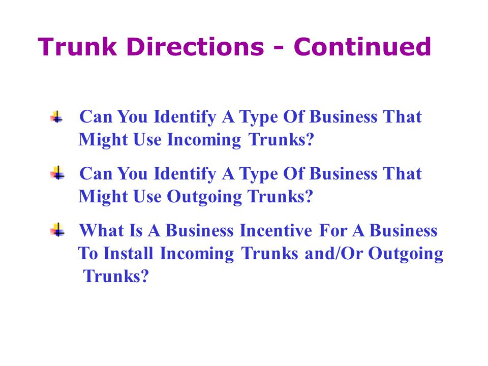 Can You Identify A Type Of Business That Might Use Incoming Trunks? Can You Identify A Type Of Business That Might Use Outgoing Trunks? What Is A Busi