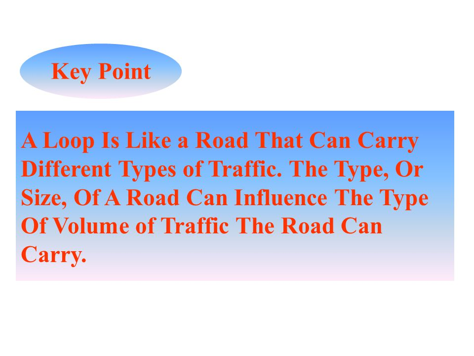 A Loop Is Like a Road That Can Carry Different Types of Traffic. The Type, Or Size, Of A Road Can Influence The Type Of Volume of Traffic The Road Can