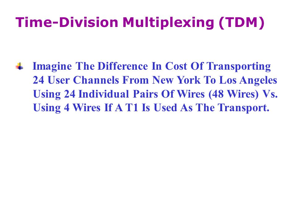 Imagine The Difference In Cost Of Transporting 24 User Channels From New York To Los Angeles Using 24 Individual Pairs Of Wires (48 Wires) Vs. Using 4