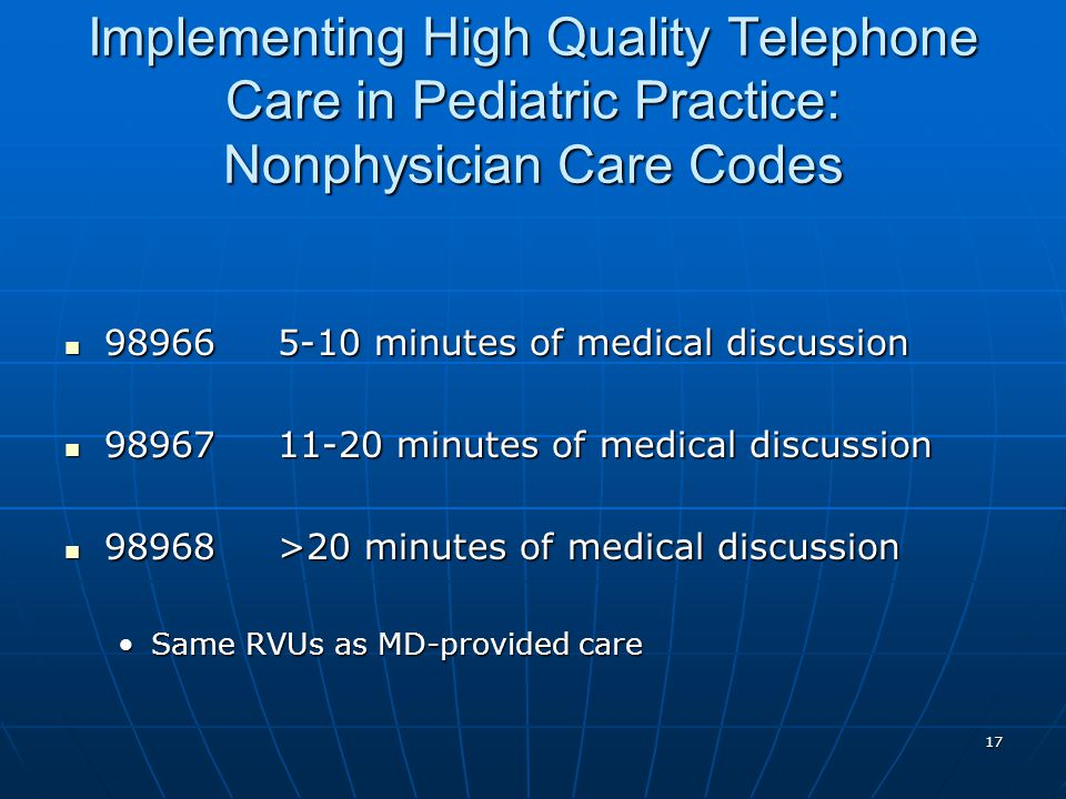 17 Implementing High Quality Telephone Care in Pediatric Practice: Nonphysician Care Codes 989665-10 minutes of medical discussion 989665-10 minutes o