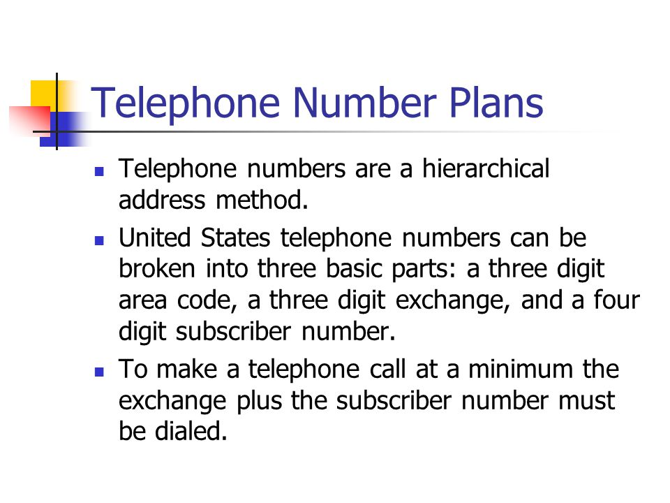 Telephone Number Plans Telephone numbers are a hierarchical address method.