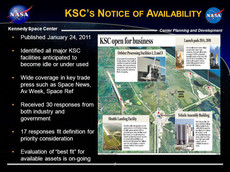 Kennedy Space Center Center Planning and Development KSC S N OTICE OF A VAILABILITY Published January 24, 2011Published January 24, 2011 Identified al