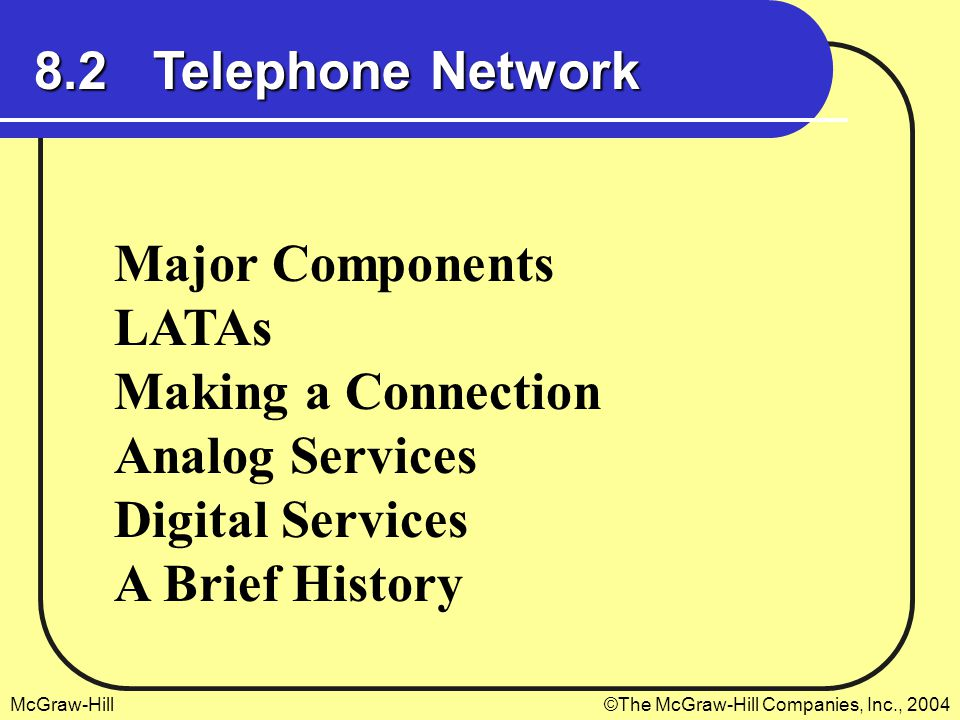McGraw-Hill©The McGraw-Hill Companies, Inc., 2004 8.2 Telephone Network Major Components LATAs Making a Connection Analog Services Digital Services A Brief History