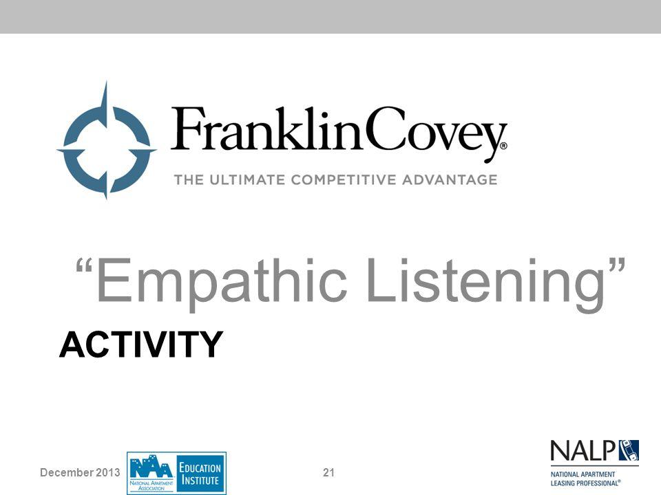 ACTIVITY Empathic Listening December 201321