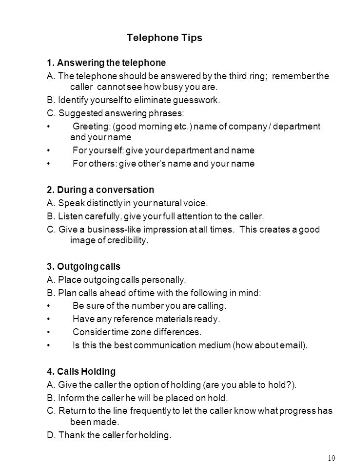 Telephone Tips 1.Answering the telephone A.