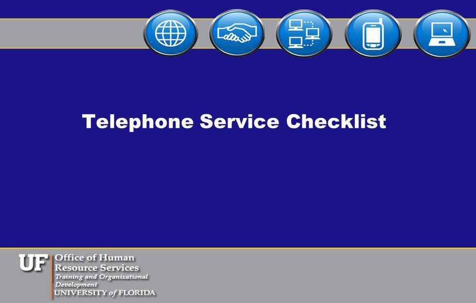 Telephone Service Checklist