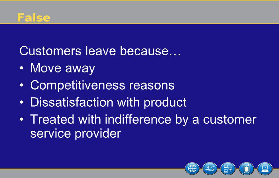 False Customers leave because… Move away Competitiveness reasons Dissatisfaction with product Treated with indifference by a customer service provider