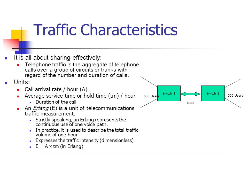 Traffic Characteristics It is all about sharing effectively: Telephone traffic is the aggregate of telephone calls over a group of circuits or trunks