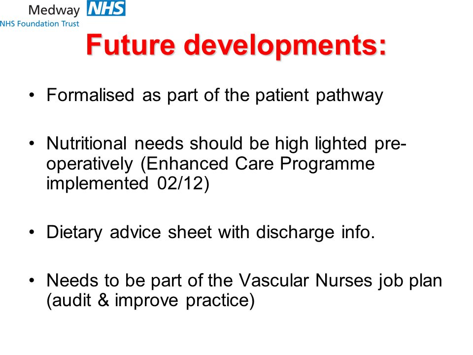 Future developments: Formalised as part of the patient pathway Nutritional needs should be high lighted pre- operatively (Enhanced Care Programme implemented 02/12) Dietary advice sheet with discharge info.