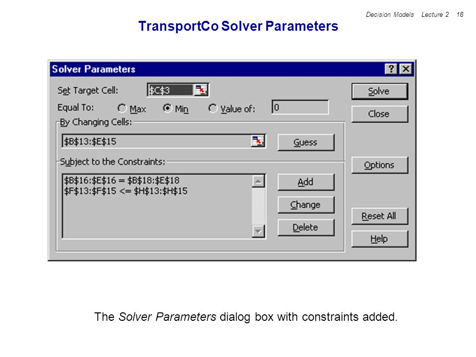 Decision Models Lecture 2 18 TransportCo Solver Parameters The Solver Parameters dialog box with constraints added.