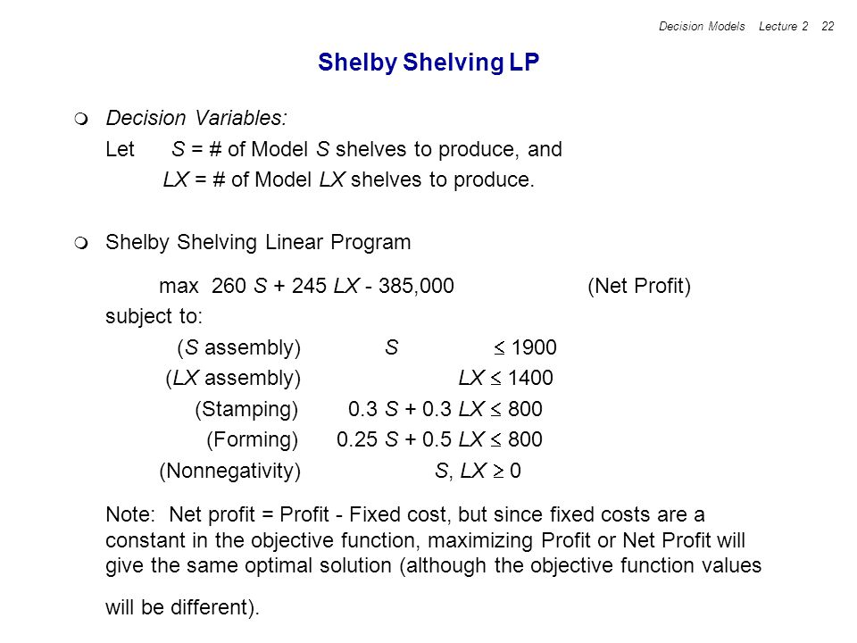 Decision Models Lecture 2 22 Shelby Shelving LP Decision Variables: Let S = # of Model S shelves to produce, and LX = # of Model LX shelves to produce