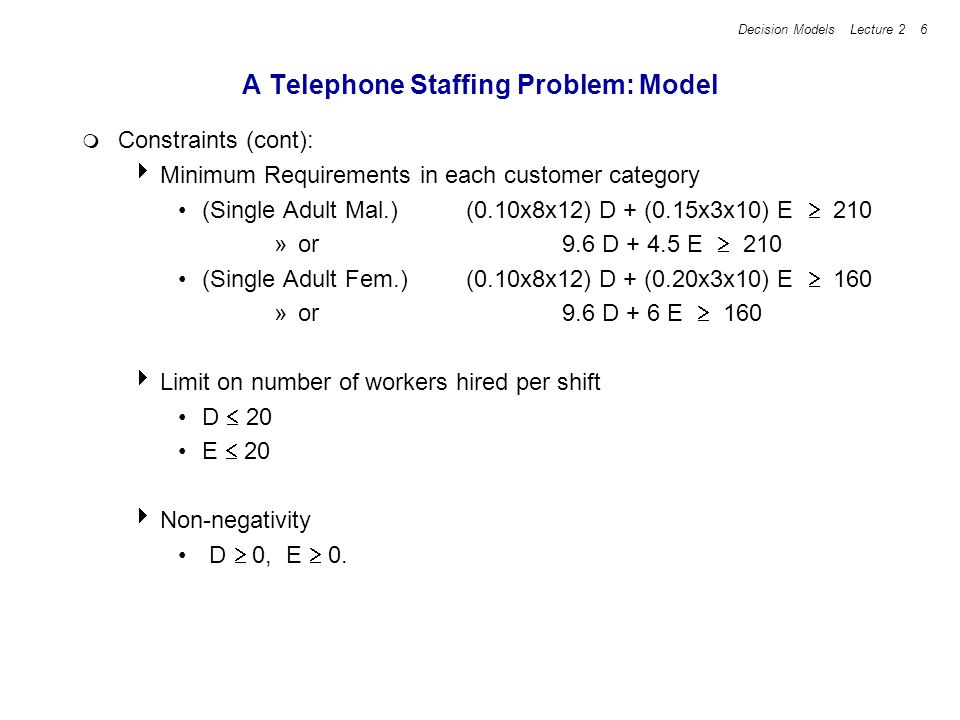 Decision Models Lecture 2 6 A Telephone Staffing Problem: Model Constraints (cont): Minimum Requirements in each customer category (Single Adult Mal.)