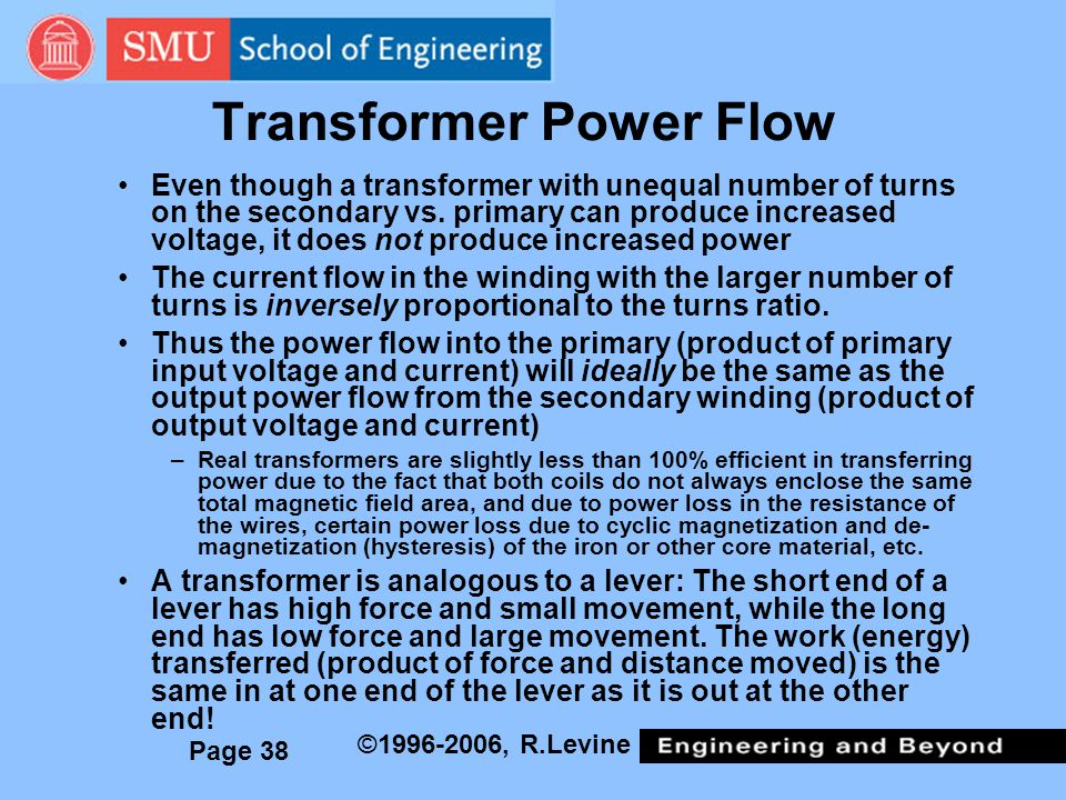 Page 38 ©1996-2006, R.Levine Transformer Power Flow Even though a transformer with unequal number of turns on the secondary vs.