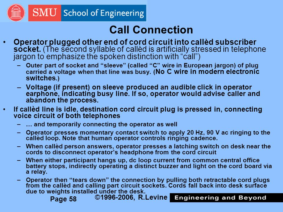 Page 58 ©1996-2006, R.Levine Call Connection Operator plugged other end of cord circuit into callèd subscriber socket.