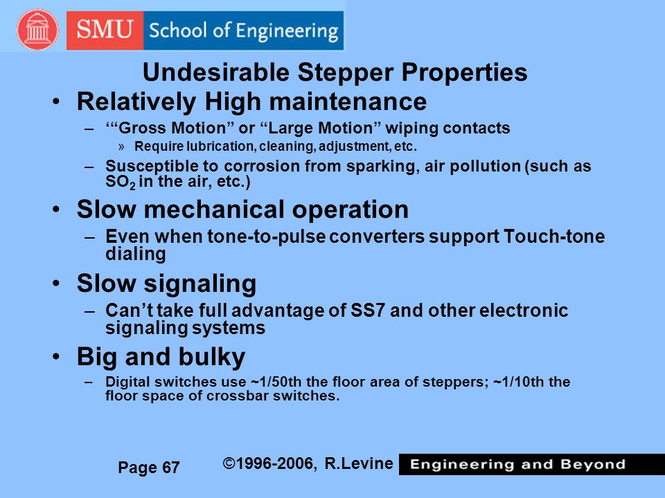 Page 67 ©1996-2006, R.Levine Undesirable Stepper Properties Relatively High maintenance –Gross Motion or Large Motion wiping contacts »Require lubrication, cleaning, adjustment, etc.