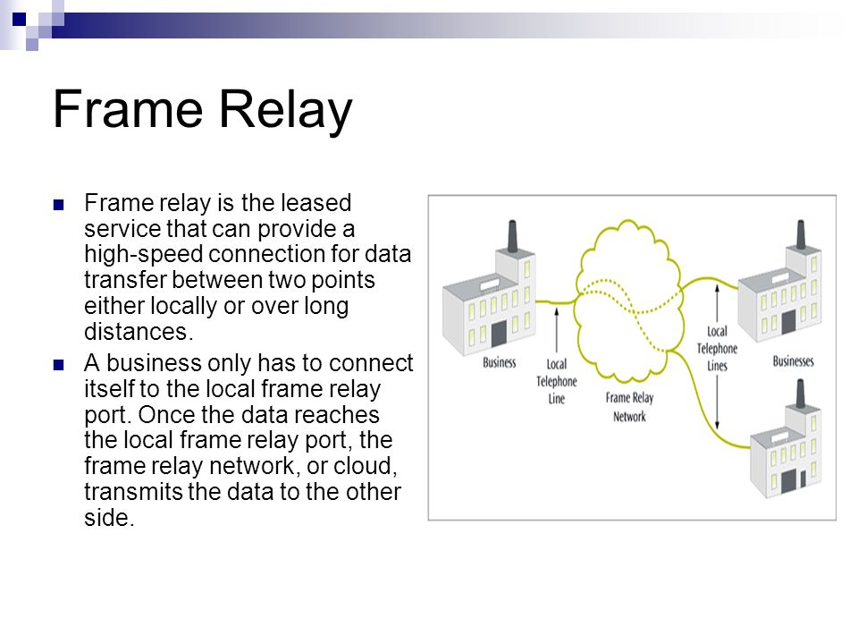 Frame Relay Frame relay is the leased service that can provide a high-speed connection for data transfer between two points either locally or over long distances.