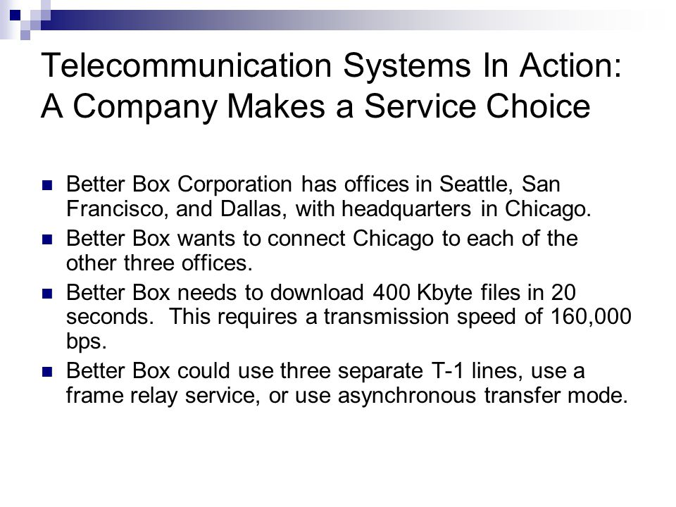 Telecommunication Systems In Action: A Company Makes a Service Choice Better Box Corporation has offices in Seattle, San Francisco, and Dallas, with headquarters in Chicago.