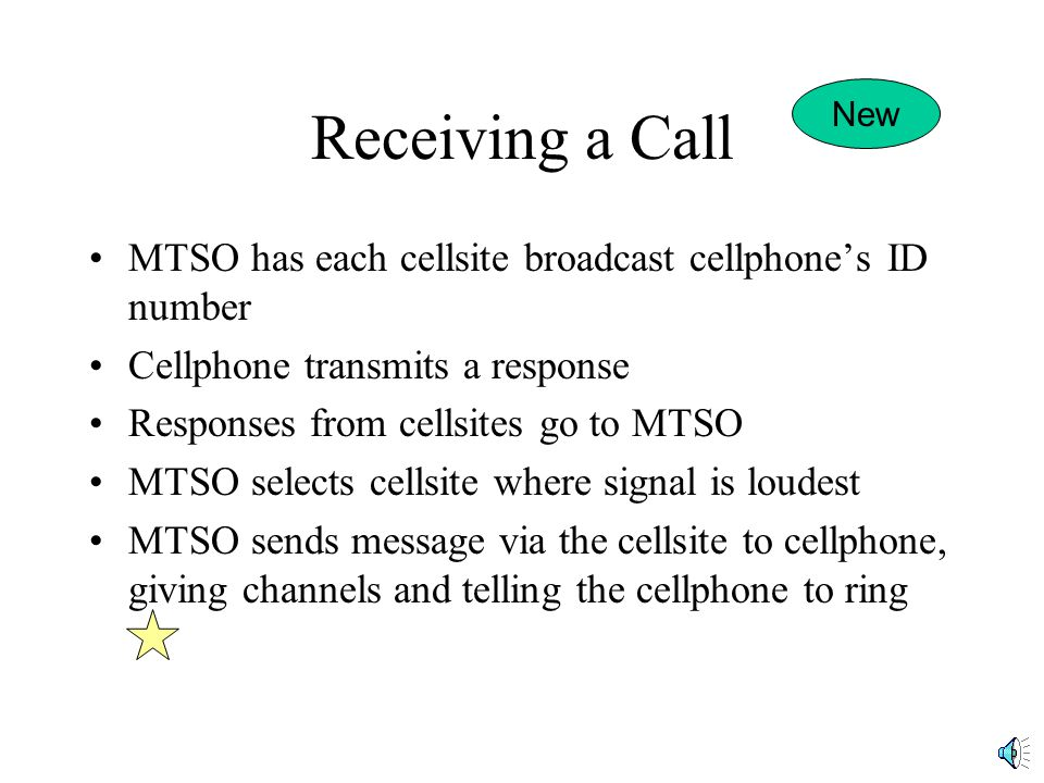 Receiving a Call MTSO has each cellsite broadcast cellphones ID number Cellphone transmits a response Responses from cellsites go to MTSO MTSO selects cellsite where signal is loudest MTSO sends message via the cellsite to cellphone, giving channels and telling the cellphone to ring New
