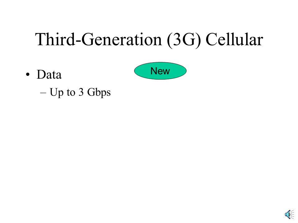 Third-Generation (3G) Cellular Data –Up to 3 Gbps New