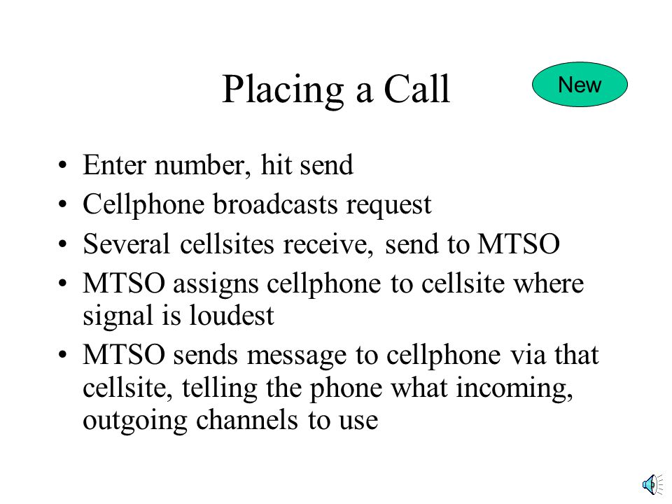 Placing a Call Enter number, hit send Cellphone broadcasts request Several cellsites receive, send to MTSO MTSO assigns cellphone to cellsite where signal is loudest MTSO sends message to cellphone via that cellsite, telling the phone what incoming, outgoing channels to use New