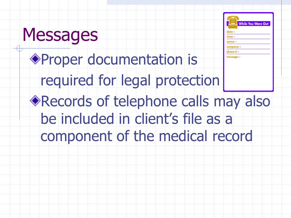 Messages Proper documentation is required for legal protection Records of telephone calls may also be included in clients file as a component of the medical record