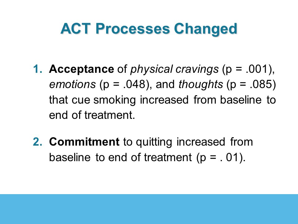 ACT Processes Changed 1.Acceptance of physical cravings (p =.001), emotions (p =.048), and thoughts (p =.085) that cue smoking increased from baseline