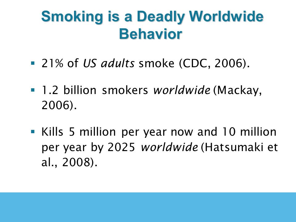 Smoking is a Deadly Worldwide Behavior Smoking is a Deadly Worldwide Behavior 21% of US adults smoke (CDC, 2006). 1.2 billion smokers worldwide (Macka