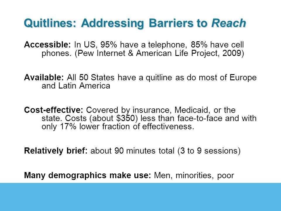 Problem: Quitlines have limited effectiveness § 12-14% quit rates at 12 month post randomization (Stead et al., 2006).