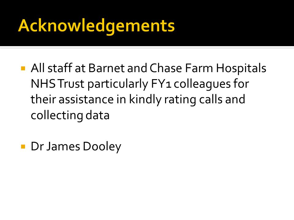All staff at Barnet and Chase Farm Hospitals NHS Trust particularly FY1 colleagues for their assistance in kindly rating calls and collecting data Dr James Dooley