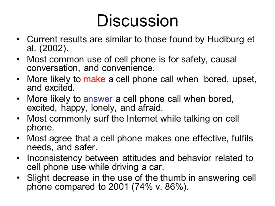Discussion Current results are similar to those found by Hudiburg et al.