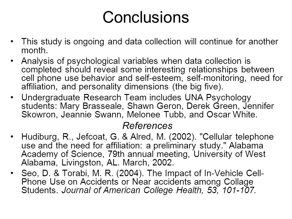 Conclusions This study is ongoing and data collection will continue for another month.