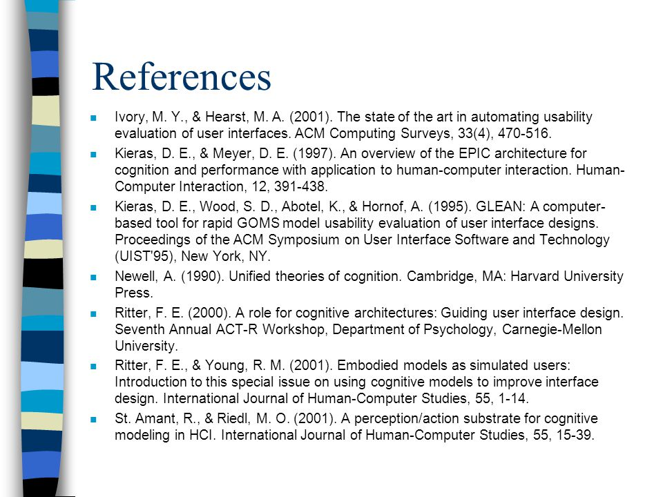 References n Ivory, M. Y., & Hearst, M. A. (2001).