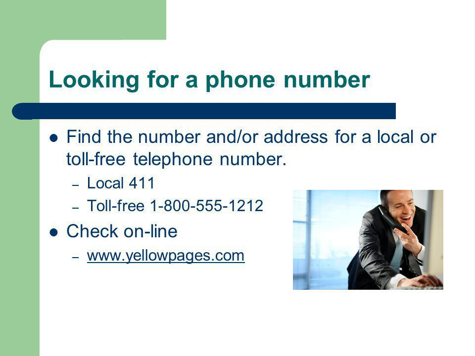 Information from the business What kind of information can you get when you call this number.