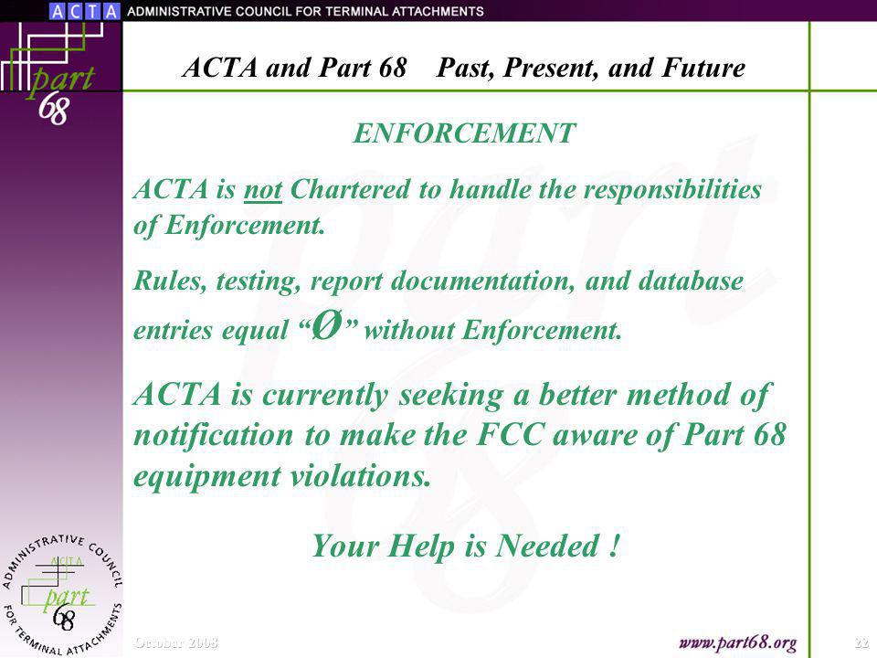 ENFORCEMENT ACTA is not Chartered to handle the responsibilities of Enforcement.